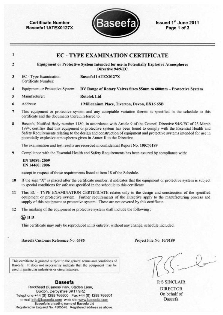 EC Type Examination baseefa12